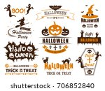 Stock vector happy halloween vector vintage label set 706852840