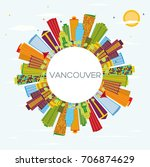 vancouver skyline with color... | Shutterstock .eps vector #706874629