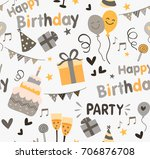 colorful birthday party... | Shutterstock . vector #706876708