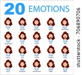 set of woman's emotions... | Shutterstock .eps vector #706890706