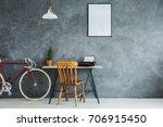red bike standing next to... | Shutterstock . vector #706915450