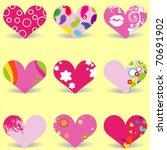 vector valentine  hearts | Shutterstock .eps vector #70691902