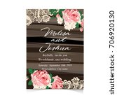 set of wedding invitations and... | Shutterstock .eps vector #706920130
