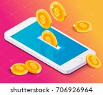 concept smartphone and money... | Shutterstock .eps vector #706926964