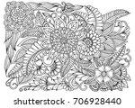 flower pattern in black and... | Shutterstock .eps vector #706928440