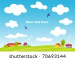 rural landscape. vector summer... | Shutterstock .eps vector #70693144