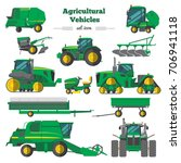 agricultural vehicles flat... | Shutterstock .eps vector #706941118