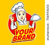 woman chef  woman muslim chef ... | Shutterstock .eps vector #706955653