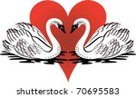 Vector Illustration of love swans swimming with red heart. - stock vector