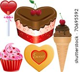 Vector Illustration of five different Valentine Sweets. - stock vector