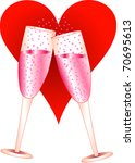 Raster version Illustration of Love Champagne Glasses toasting. - stock photo