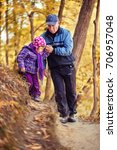 grandfather and granddaughter ... | Shutterstock . vector #706957048