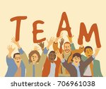 happy team group people. color... | Shutterstock .eps vector #706961038