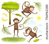 funny monkeys friends with tree ...   Shutterstock . vector #706962280