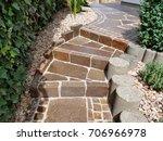 garden path  natural stone ... | Shutterstock . vector #706966978
