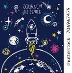 poster for journey to space... | Shutterstock .eps vector #706967479