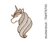 unicorn illustration line art | Shutterstock .eps vector #706976743