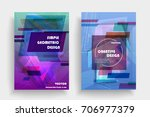 placards with abstract shapes ... | Shutterstock .eps vector #706977379