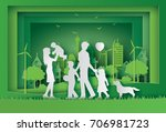 illustration of eco and world... | Shutterstock .eps vector #706981723