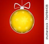 christmas ball cut from paper...   Shutterstock . vector #706984438