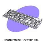 computer keyboard freehand... | Shutterstock .eps vector #706984486