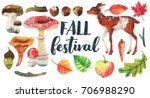 welcome fall  watercolor hello... | Shutterstock . vector #706988290