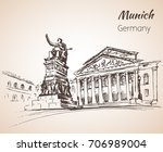 munchen city landscape  germany.... | Shutterstock .eps vector #706989004