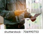 man checklist using banking for ... | Shutterstock . vector #706990753