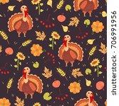 turkey bird seamless pattern... | Shutterstock .eps vector #706991956