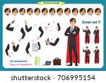set of super businessman... | Shutterstock .eps vector #706995154