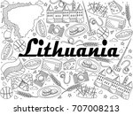 lithuania coloring book line... | Shutterstock .eps vector #707008213