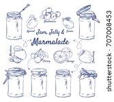 doodle set of jam  jelly  ... | Shutterstock .eps vector #707008453