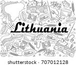 lithuania coloring book line...   Shutterstock . vector #707012128