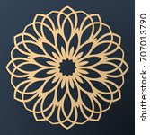 laser cutting mandala. golden... | Shutterstock .eps vector #707013790