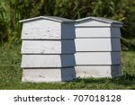 pair of white painted wooden... | Shutterstock . vector #707018128