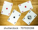 Playing Cards   Aces On Wood...