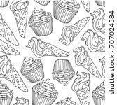 ice cream and cake vector...   Shutterstock .eps vector #707024584