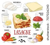 lasagne and its ingredients.... | Shutterstock .eps vector #707026240