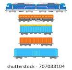 vector flat  railway locomotive ... | Shutterstock .eps vector #707033104