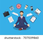 businessman meditating  time... | Shutterstock .eps vector #707039860
