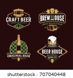 set of vector vintage beer logo ... | Shutterstock .eps vector #707040448