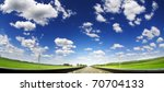 summe landscape with railroad and cloudy sky - stock photo