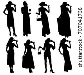 set of vector silhouettes of a... | Shutterstock .eps vector #707041738