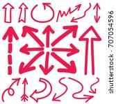 hand drawn arrows in red.... | Shutterstock .eps vector #707054596