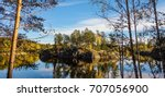 colorful scenic view in finland ... | Shutterstock . vector #707056900