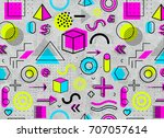 geometric memphis pattern for...   Shutterstock . vector #707057614