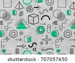geometric memphis pattern for...   Shutterstock . vector #707057650