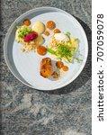 fine dining dessert  apricot... | Shutterstock . vector #707059078