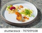 fine dining dessert  apricot... | Shutterstock . vector #707059108