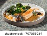 plated freshly grilled pork... | Shutterstock . vector #707059264